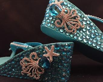 SKD Octopus Rhinestone Wedge Flip Flops, Custom Wedge Flip Flops, Turquoise Sandals, Bridal Sandals, Wedding Wedge Shoes Platform Flip Flops