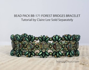 Bead Pack BB-171 Forest Bridges Bracelet, Tutorial by Claire Lee Sold Separately, BB 171 Forest Bridges Bracelet Bead Pack