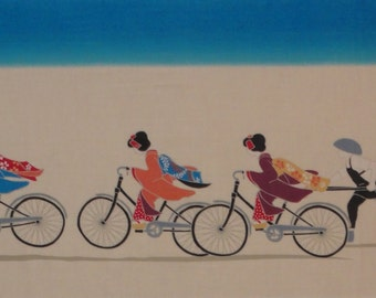 Pedaling Maiko-san w/Blue Tenugui Japanese Geisha Fabric w/Free Insured Shipping