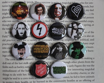 Marilyn manson etsy marilyn manson set of 14 pin back buttons bookmarktalkfo Images