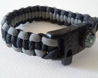 Bracelet kit of survival Paracord and compass in black shades