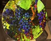 Round Glass Cutting Board Large - Grape Vine - 12 in diameter