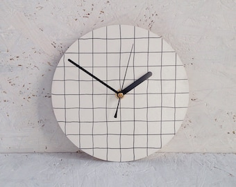 Modern wall clock | gifts under 50 | black and white grid pattern | minimalist homeware | scandinavian | kitchen clock