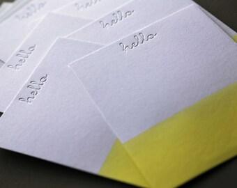 Hello Yellow Dip Dye Letterpress A2 Flat Note Cards + Blank Envelopes, qty 6