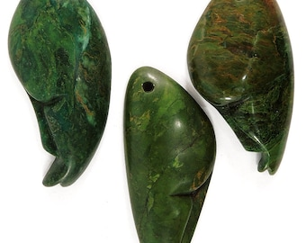 3 Shona Pendants Verdite Stone Abstract Faces Zimbabwe Africa 99326