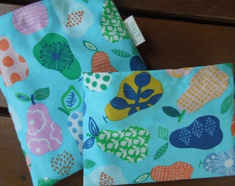 Organic fabric reusable sandwich bag - Reuse snack bag - Eco lunch bags - Zero waste lunch bags - Handpicked pears