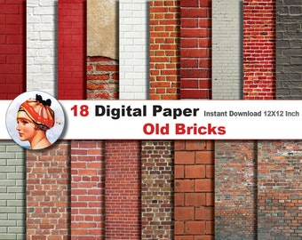 18x Old Bricks paper +  Digital paper patterns - Scrapbooking Paper, Instant Download (No. 38)
