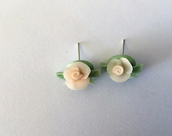 Roses earrings, cold porcelain earrings, handmade