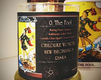 THE FOOL Tarot Candle - Spell Candle - Magick - Witchcraft - Rider Waite - Quartz