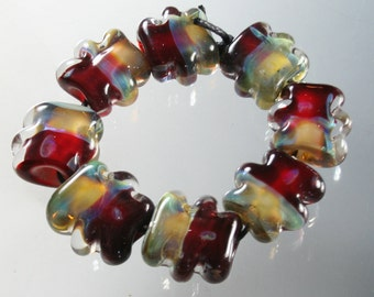 Lampwork Glass Beads Boro Borosilicate Handmade Abstract StoneyMarie Set of 8