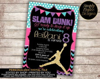 Girl's Basketball Birthday Party Invitation