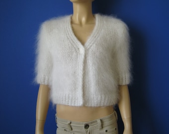 Made to Order ! New Hand Knitted Mohair Bolero Sweater Shrug size XS White