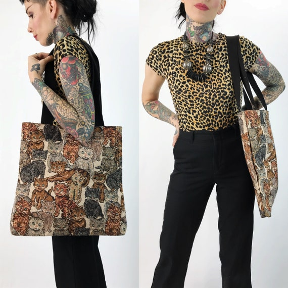 90's Cat Print Tapestry Fabric Tote Bag - Allover Print Cat Purse - Hipster Cat Lady Pocket Book Tote Bag - Vintage Kitten Cats Computer Bag