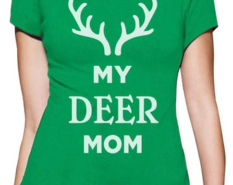 My Deer Mom Reindeer Antlers Christmas Women T-Shirt