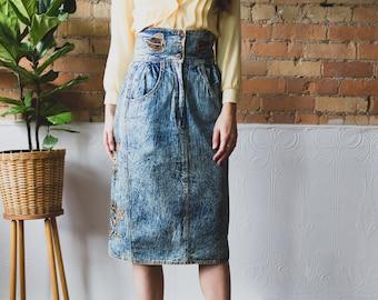 Vintage Denim Skirt - High Waisted Acid Wash Skirt with Floral Patchwork - Blue Jean Spring Summer Hippie Flower Child Skirt
