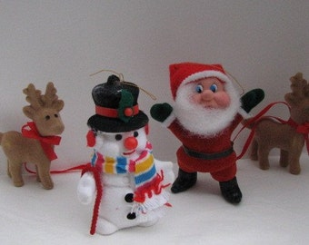 Vintage Christmas Flocked Santa and Friends  Ornaments Collector Gift Display