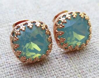Swarovski Crystal Earrings, Bridesmaids Gifts, Bridal Earrings, Rose Gold Earrings, Stud Earrings, Seafoam Opal Earrings, Cushion Posts