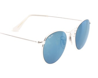 Ray-Ban B&L W2246 rare round silver sunglasses with blue mirrored lenses made in usa by Bausch and Lomb.
