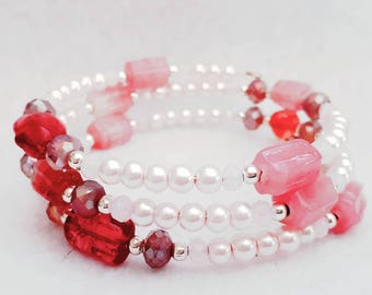 Memory wire wrap bracelet soft pink and Rose Quartz.
