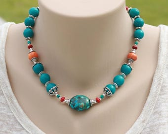 Short blue necklace, birthday gift, turquoise, Mothers day gift