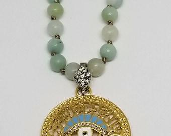 Fashion Long Beads Amazonite Charm Evil Eye Protection pendant Necklace Handmade