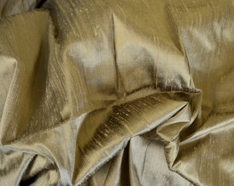 Silk Dupioni in Dark Vegas Gold with black shimmers, Extra wide 54 inches, Half yard  DEX 252