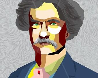 "Portrait ""Mark"" - Tribute To Mark Twain - FRAMED ART, Literature, iconArt, Personalized Gift, Name, Book Lover, Gift, For Women, For Men"