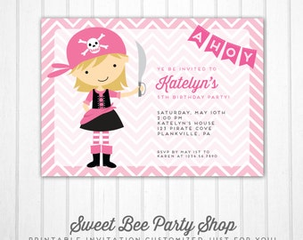 Girl Pirate Birthday Invitation - Printable Birthday Invitation - Girl Pirate Invite - Pink Pirate Invitation