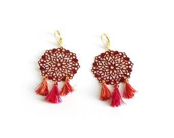 Shaman - Earrings Burgundy and gold tassels