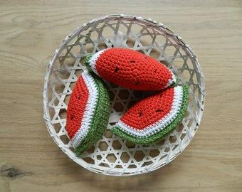 Dinette, toys, vegetables for children, watermelon crochet, Christmas gift Christmas gift