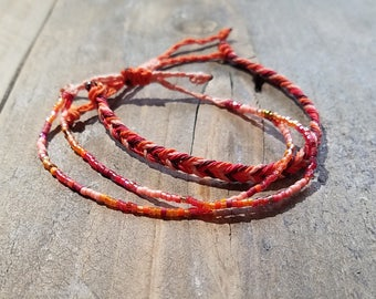 Red, Orange, Peach and Maroon Surfer Bracelet Pack, Friendship Bracelet Set, Waterproof Wax Cord, Adjustable Boho Bracelet Set