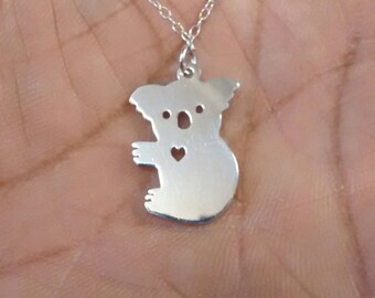 Koala Necklace - Engrave Pendant - Sterling Silver Jewelry - Gold Jewelry - Rose Gold Jewelry - Personalized Pet Jewelry - Animal Charm