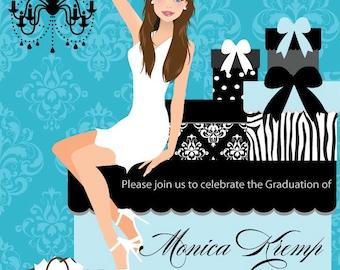 College Graduation Party Invitation - DIY High School Grad Announcement