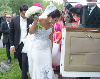 Lace Wedding Dress, Wedding Gown, Unique Wedding Dress, Mermaid Wedding Dress, Strapless Wedding Dress, Corset Wedding Dress, Bridal Dress