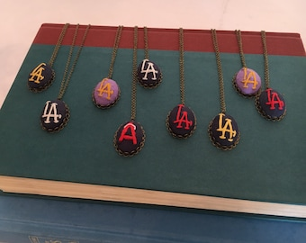 RTS - Los Angeles Sports Team - hand embroidered LA necklace, baseball, football, soccer, basketball, hockey