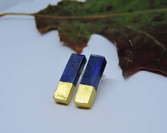 Moon, ceramic earrings gold-plated 22K; gift