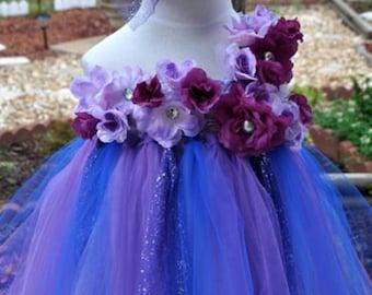 purple&royal blue long tutu flower dress birthday party wedding photograph custom order all size