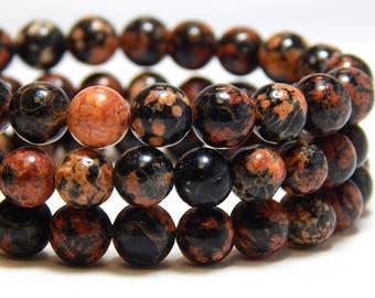 6mm Red Snowflake Obsidian, Full Strand, 6mm Snowflake Obsidian, 6mm Gemstones, Gemstone Beads, Red Black Beads, Stone Beads, B-22B