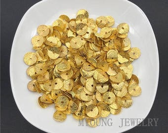 Gold Plated Metal Wavy Disc Beads, Wholesale Brass Spacer Jewelry Findings, Center Hole Metal Beads,  GB09154