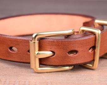 Custom Light Brown Leather Dog Collar - Handmade Leather Dog Collar - Medium Dog Collar - Real Leather Collar for Dogs with Brass Hardware