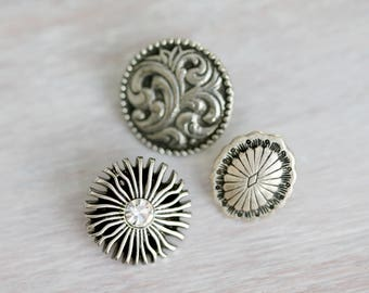3 Assorted Antique Silver Button Clasps