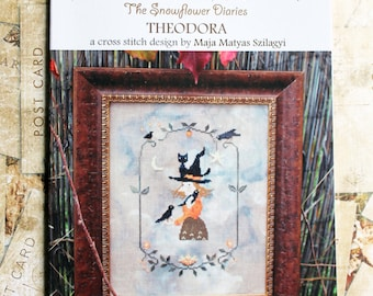 THEODORA - official printed paper cross stitch pattern, The Snowflower Diaries, primitive, witch, Halloween, magical