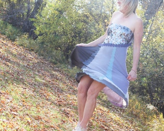 upcycled dress M - L upcycled clothing, upcycled fashion, strapless dress . blue october