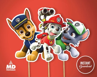 PAW PATROL Printable Center Piece, Birthday Party Theme Favors, Paw Patrol, DIY, Package, Candy Bar, Clipart, Decoration, Instant Download