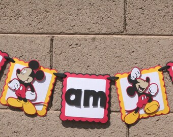 Mickey Mouse, I AM 1 birthday banner. Photo Prop. Happy Birthday Banner.