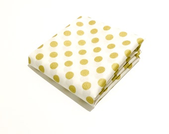 Large Gold Dot Fabric on White - 100% Cotton Quilting Fabric with Metallic Gold Polka Dots on Pure White by the Yard