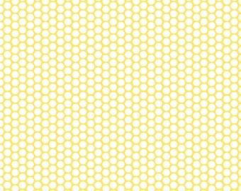 Yellow Dots Fabric, Riley Blake C680-50 Yellow Honeycomb Dot, Yellow and White Dot Fabric,  Cotton Quilt Fabric, Yellow Polka Dots