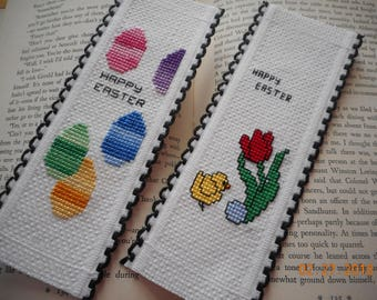 set of 2 EASTER bookmarks, HAPPY EASTER,tulips and chick,Easter Eggs,basket fillers, cross stitch bookmark,  aida riband bookmark