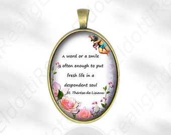 A word or a smile St. Therese of Lisieux Quote - Catholic Medal Pendant Religious Jewelry