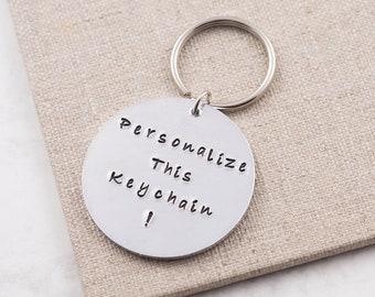 Personalized keychain, personalized keyring, custom keychain, personalized gift, quote keychain, round keychain, gift for him, gift for her